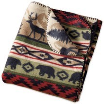 "Back Country Throw Blanket Stripe 50"" x 60"" New Bear Elk Fleece - €20,01 EUR"