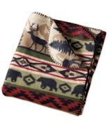 "Back Country Throw Blanket Stripe 50"" x 60"" New Bear Elk Fleece - €20,09 EUR"