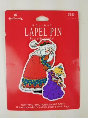 Primary image for Hallmark Christmas Holiday Lapel Pin Santa w/ a Sack of Toys