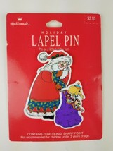 Hallmark Christmas Holiday Lapel Pin Santa w/ a Sack of Toys - $9.65