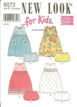 New Look..for Kids! #6072 Girl's Child's Dress w/Variations & Panties 6mo-4 FF - $8.47