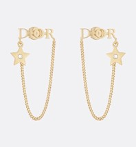 NEW AUTH Christian Dior 2019 DIO(R)EVOLUTION EARRINGS GOLD STAR CRYSTAL DANGLE