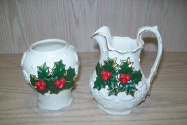 Sugar & Creamer Christmas Design White , Green Leaves Red Berries Gold D... - $9.95