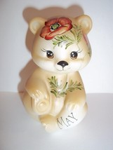 Fenton Glass May Birthday Anemone Flower Sitting BEAR Figurine GSE K Bar... - $115.92