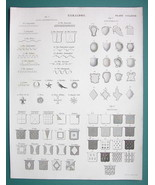 HERALDRY Types of Escutcheons Lines Tinctures etc - 1840 Fine Quality Print - $12.15