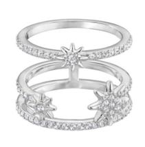 SWAROVSKI Fizzy Crystal Ring Set 55/7/M Silver Stars Rhodium-Plated - $98.97