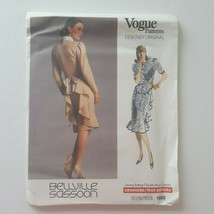 Vogue Designer Original Bellville Sassoon Dress Sewing Pattern 1980 Size 10 - $15.83