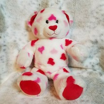 """Build A Bear White Teddy with Red Pink Hearts 12"""" Great Gift  - $18.80"""