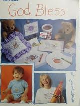 GOD Bless, 8 Cross Stitch Patterns + Extras Vintage New Stock 1992, Leisure Arts - $2.48