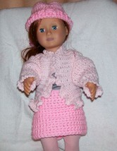 American Girl Pink Sweater and Hat, Handmade Crochet, 18 Inch Doll - $15.00