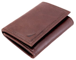 Nautica Men's Genuine Vintage Leather Credit Card Id Trifold Wallet image 10