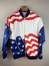 Leslie Jordan Womens Windbreaker Jacket M Medium American Flag - $98.99