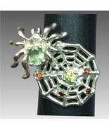 14k Sapphire, Peridot & Garnet Spiderweb Ring, FREE SIZING - $399.00