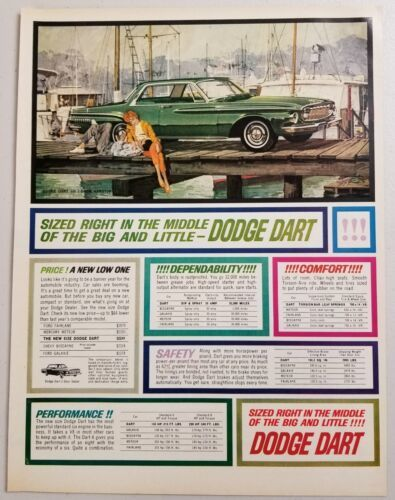 Primary image for 1962 Print Ad Dodge Dart 2-Door Green Car on Dock by the Water