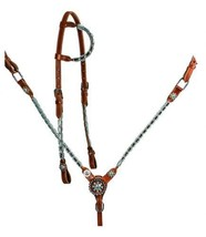 WESTERN HORSE BLING ! COVERED IN CRYSTAL RHINESTONES MED BROWN LEATHER T... - $94.94