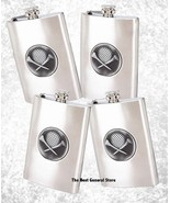 Lot of 4 Embossed Golf Emblem Brushed Stainless Steel 8oz Flask Screw-Do... - $29.94