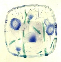 "Mikasa Walther Glas Square Fused Glass Bowl 5.5"" Clear Blue Daffodils Germany - $24.01"