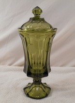 """Fostoria 13"""" Emerald Green COIN Footed Covered CANDY Dish/Jar/Urn - $66.49"""
