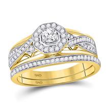 14kt Yellow Gold Round Diamond Bridal Wedding Engagement Ring Band Set 1/2 Ctw - $1,159.00