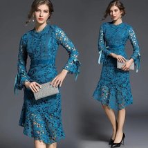 Spring new ladies fashion tempera flare sleeve Slim lace  fishtail dress - $49.00
