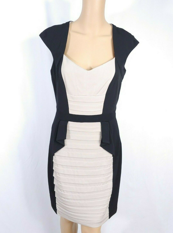 JAX $215 Colorblock Sheath Shirt Dress SZ 8 Black Beige Nude Pleated Cap Sleeve