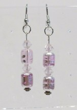 handmade pink and silver bead and crystal dangle earrings - $9.00