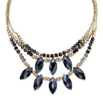 "PalmBeach Jewelry Black Aurora Borealis Crystal Gold Tone Necklace 18"" - $24.49"