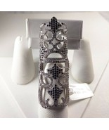 925 Sterling Silver Black and Clear Crystal Finger Ring - New - Size 6.25 - $123.75