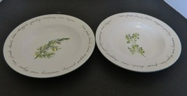 Gibson Designs Rosemary & Parsley Rim Soup Bowls Herb Gardens Pattern Lo... - $18.69
