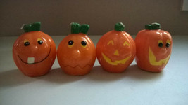 "Halloween Set of 4 Cute Pumpkins with Faces Candles Each 3"" tall - $12.99"