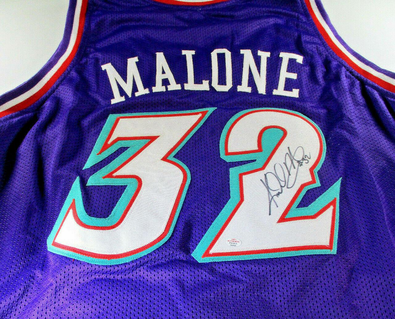 KARL MALONE / NBA HALL OF FAME / HAND SIGNED UTAH JAZZ CUSTOM JERSEY / COA