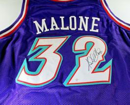 KARL MALONE / NBA HALL OF FAME / HAND SIGNED UTAH JAZZ CUSTOM JERSEY / COA image 1