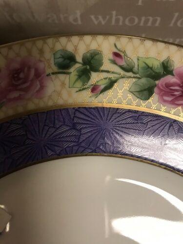 Black Knight Bavaria Dinner Plate Purple Edge Pink Roses image 4