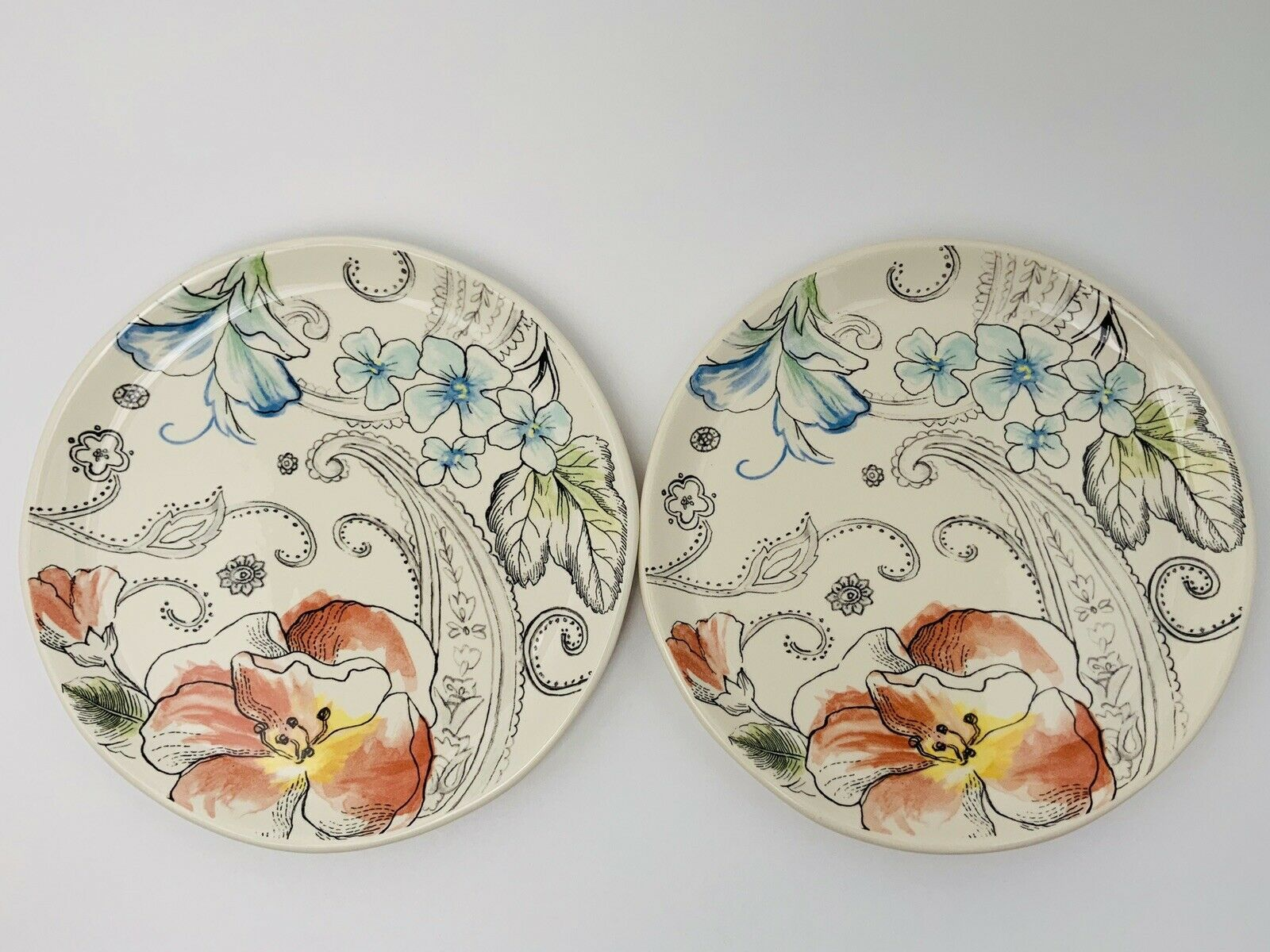 "Primary image for 2 Fitz And Floyd Paisley Park Floral Salad Plates 9.25"" Lot Of Two"