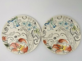 "2 Fitz And Floyd Paisley Park Floral Salad Plates 9.25"" Lot Of Two - $26.68"