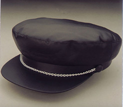 Black Vinyl BIKER CAP Hat w/ Chain punk costume goth tough guy 50s rocka... - $19.09 CAD