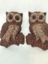 VINTAGE 3D Pair of 2 Retro OWL BIRDS WALL HANGING PLAQUES STYROFOAM  - $13.98