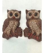 VINTAGE 3D Pair of 2 Retro OWL BIRDS WALL HANGING PLAQUES STYROFOAM  - $13.98