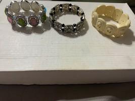 Very Beautiful Vintage Lot of 3 Bead Style Stretch Bracelets - $7.85