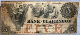 1855 BANK OF CLARENDON $5  NORTH CAROLINA - $197.01