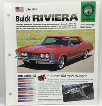 USA 1963 Buick Riviera Hot Cars Muscle Cars Group 4 # 45 Spec Sheet Brochure - $9.49