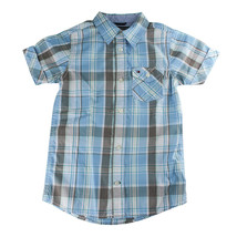 Tommy Hilfiger Boys Blue Plaid Button-Up Short Sleeve Shirt T375110, Size 5 - $23.00