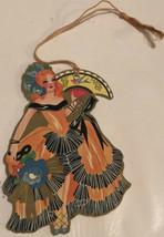 vintage Tally Card Woman In Orange Dress Dancing - $15.83