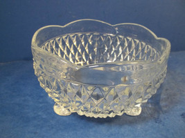 LOVELY CLEAR GLASS FOOTED DISH - VINTAGE - $15.99