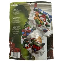"Bucilla 86108 Felt Stocking Kit 18"" Snow Fun Santa Snowman Penguin 2008 - $19.79"