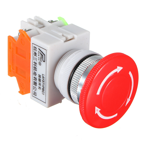 1 nc n c dpst emergency stop switches push button switch mushroom 4 screw terminals 600v