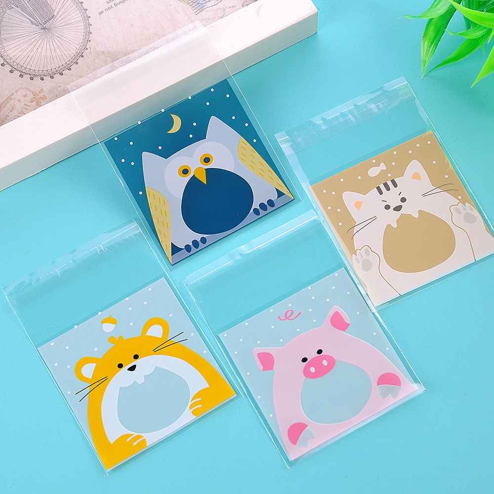 100 Pcs Self Adhesive Cookie Candy Package Gift Bags