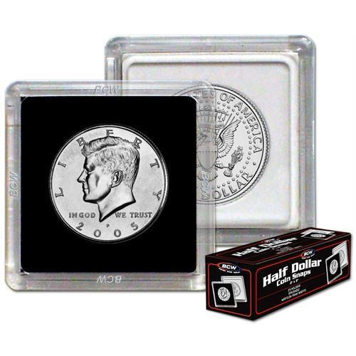 Case 500 BCW 2X2 COIN SNAP -HALF DOLLAR- BLACK - Premium Long-term Storage Snaps