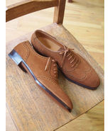 New Handmade Men Wing Tip Suede Leather Shoes, Men Oxford Lace Up Shoes  - $179.97+