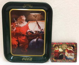 Coca Cola Tray Tin Santa Claus Drinking Coke Green Rectangle & Playing C... - $12.86
